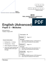 English Advanced Paper 2 CSSA 2010 Trial
