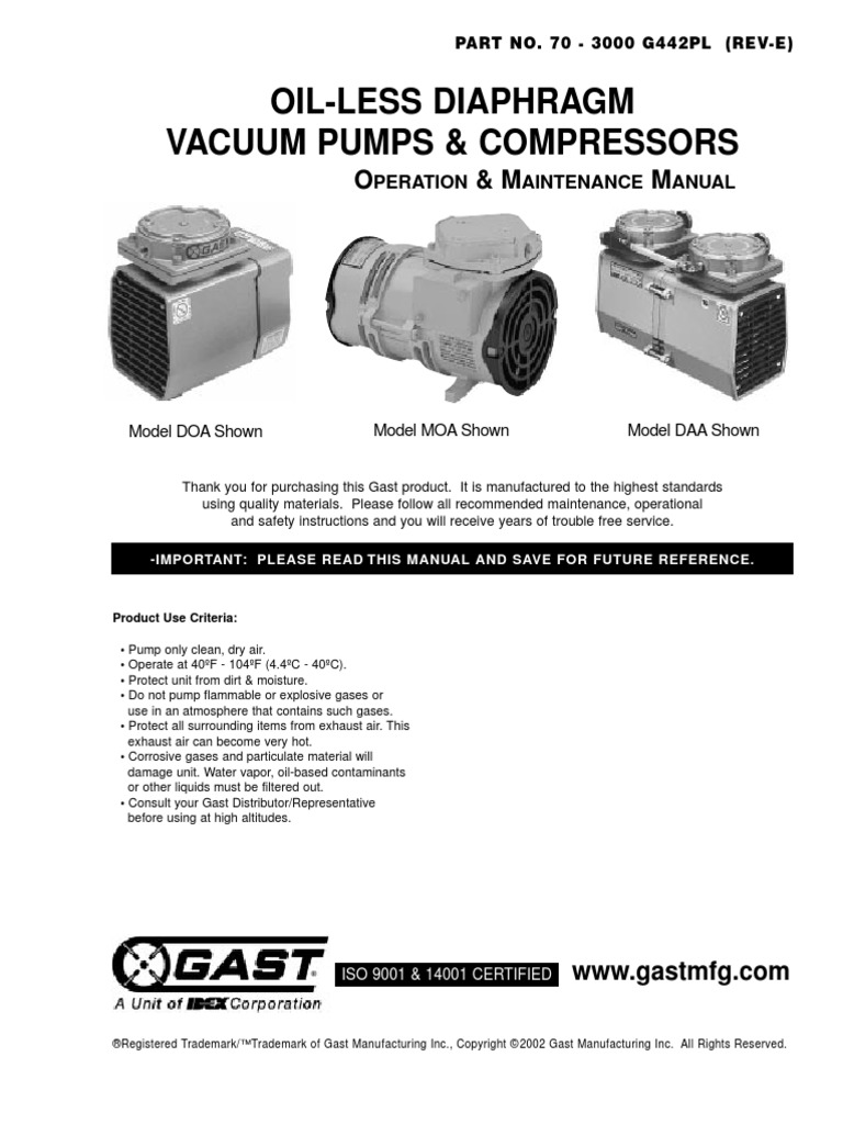 Gast Oilless Pump Wire Diagram Completed Wiring Diagrams Vacuum Pumps Valve Fuse Electrical Product