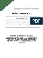 Ordenanza Urbanistica Centro de Valencia