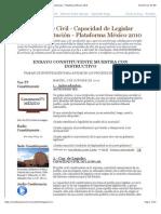 Constituyente Civil - Capacidad de Legislar Nueva Constitución - Plataforma México 2010