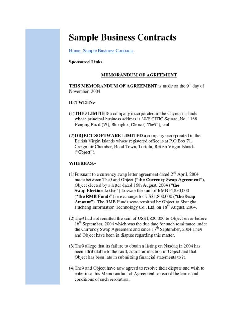 Sample Business Contracts Renminbi Swap Finance