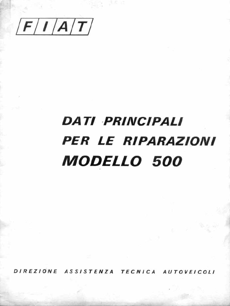 Fiat 500 Manuale d'Officina