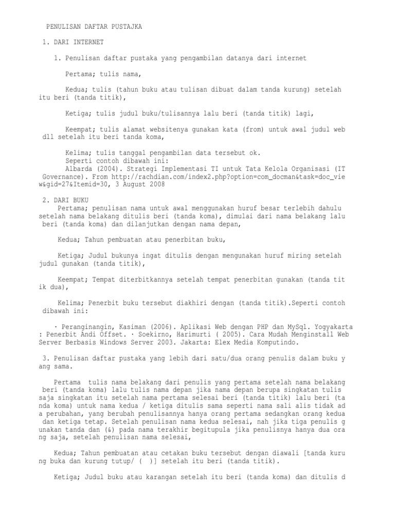 Penulisan Daftar Pustaka