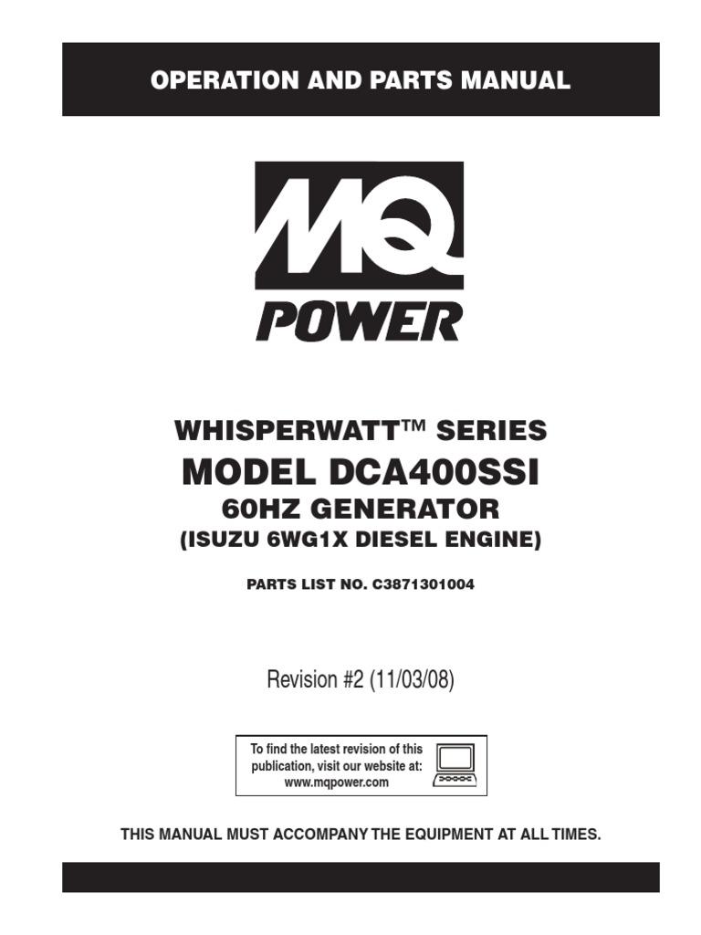 Generators Portable Whisperwatt DCA400SSI Rev 2 Manual