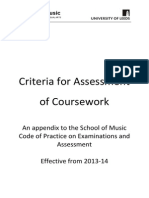 Music Undergraduate Assessment Criteria 2013-14
