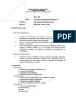 Plan de Asignatura Lab Microprocedadores I 12 Feb 2014