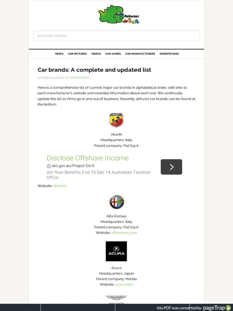 Official websites of car manufacturers: a selection of sites
