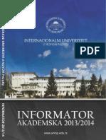 INTERNACIONALNI - UNIVERZITET U NOVOM PAZARU INFORMATOR 2014/2015.