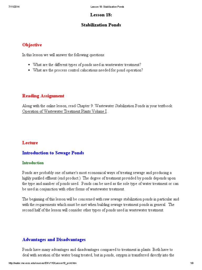Lesson 18_ Stabilization Ponds   Sewage Treatment
