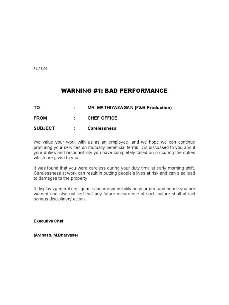 Warning Letter For Sleeping