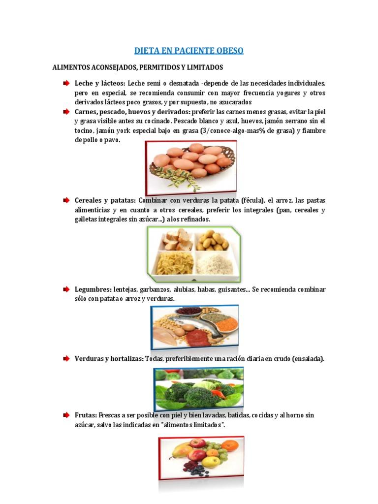 Alimentos permitidos para personas con obesidad