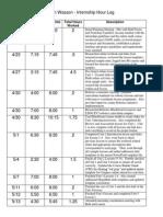 e-portfolio internship hour log