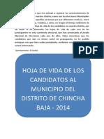 Elecciones Municipales 2014 en El Distrito de Chincha Baja -Hoja de Vida de Los Candidatos