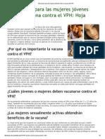Información Para Las Mujeres Jóvenes Sobre La Vacuna Del VPH