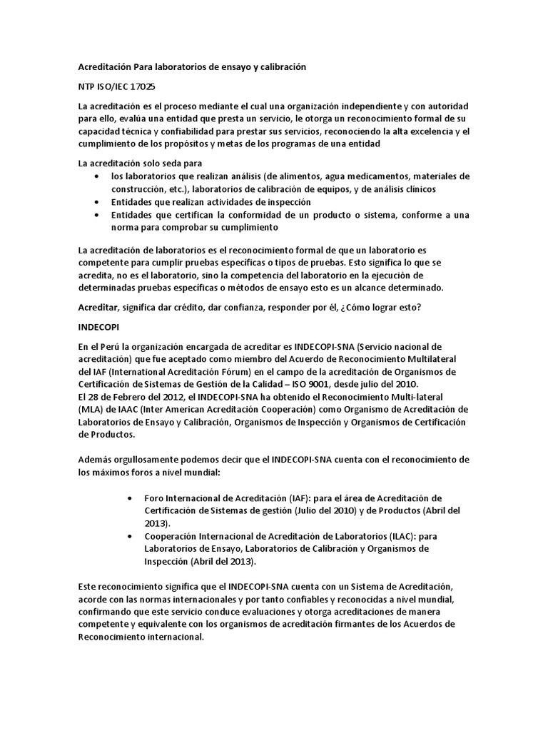 Acreditación Para Laboratorios de Ensayo y Calibración