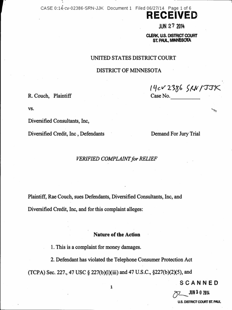 r couch diversified consultants fdcpa tcpa complaint minnesota pro