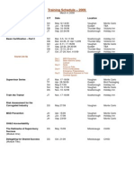 Training Schedule- 2009