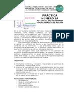 PLAN DE PRACTICA POTENCIAL DE MEMBRANA EN REPOSO Y DE ACCIÓN 1° PARTE