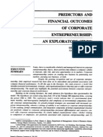 1991 Predictors and Financial Outcomes of Corporate Entrepreneurship an Exploratory Study