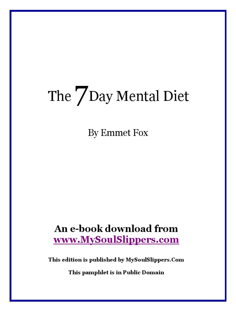 Emmet fox the seven day mental diet thought happiness self help fandeluxe Images