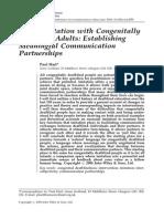 Using Imitation With Congenitally Deafblind Adults - Establishing Meaningful Communication Partnerships