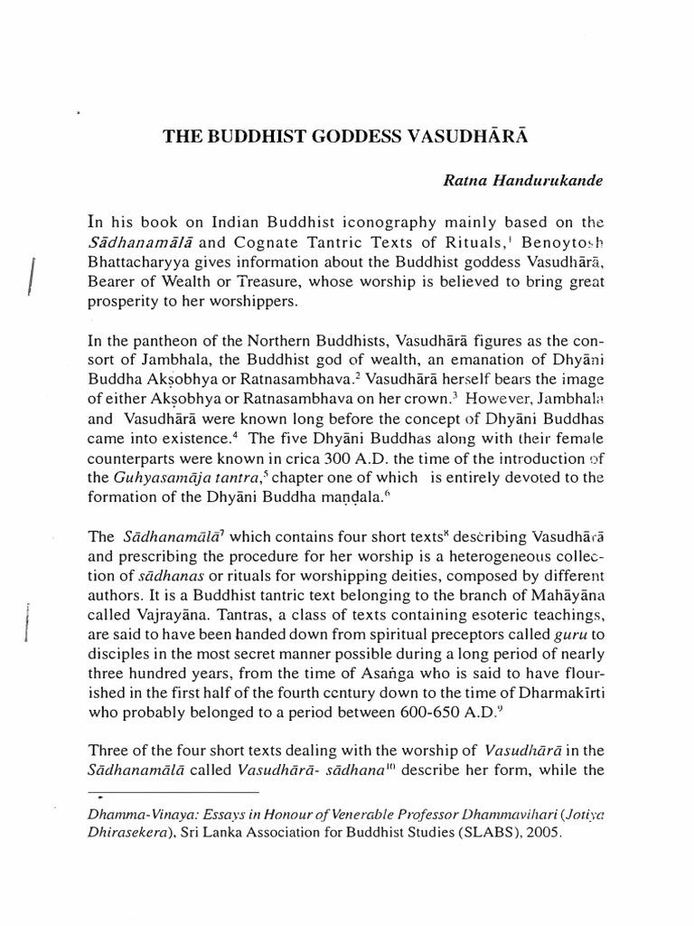 RH-061 the Buddhist Goddess Vasudhārā-Sri Lanka Association
