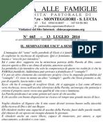 Lettera alle Famiglie - 13 luglio 2014