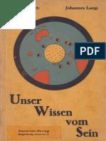 Johannes Lang - Unser Wissen Vom Sein 1926