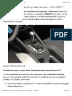 Fiabilité Boîte Auto DSG