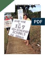 Kauai Hawaii Anti-War Sign Holding Action