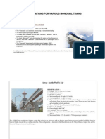 Specifications for Various Monorail Trains