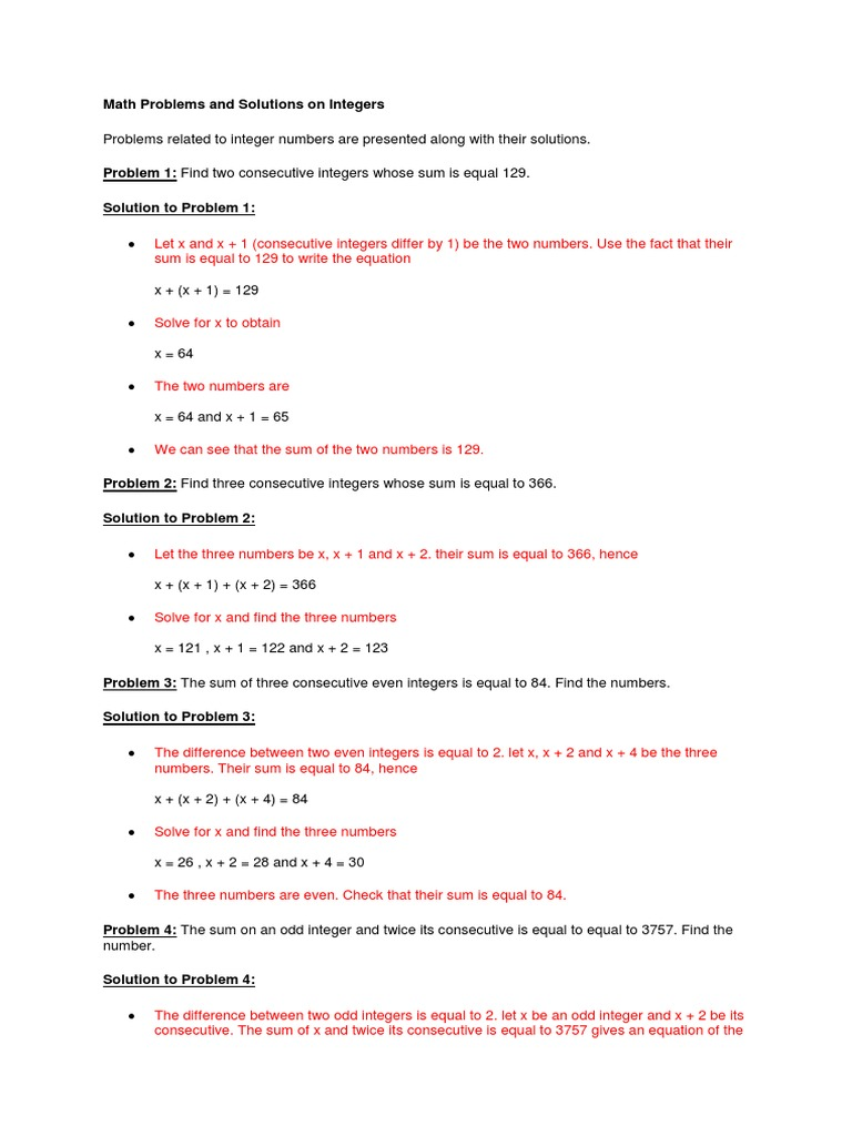 Math Problems and Solutions Summation – Consecutive Integers Word Problems Worksheet