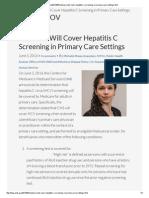 CMS Hepatitis c Screening in Primary Care Settings