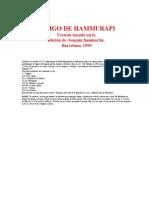 CÓDIGO de HAMMURABI (Edicion de Joaquin Sanmartin 1999)