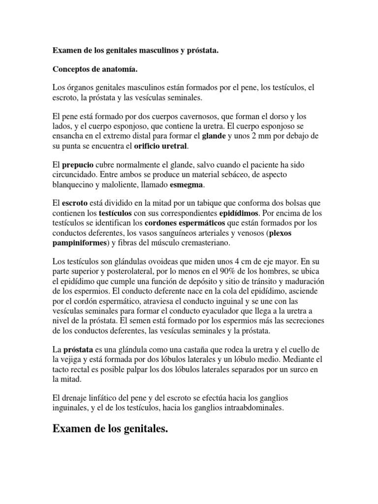 Examen de Los Genitales Masculinos y Próstata