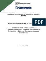 No 217-2013-OS-CD Tarifas y Compensaciones SST