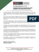RECIBEN CON HONORES RESTOS DE MAYOR PNP CAÍDO EN ENFRENTAMIENTO CON NARCOTRAFICANTES
