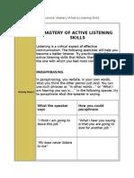 Mastery of Active Listening Skills