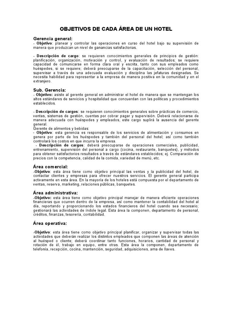 Objetivos de Cada Area de Un Hotel (4)