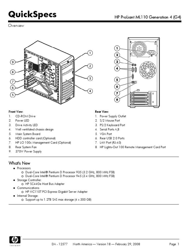 QuickSpecs HP ProLiant ML110 Generation 4 (G4) | Hard Disk