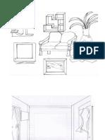 Lakaran Diorama Ruang Tamu