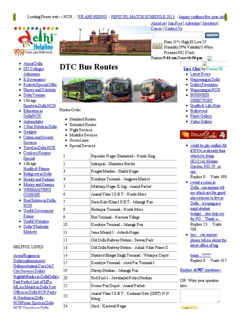 DTC - Bus Routes Delhi