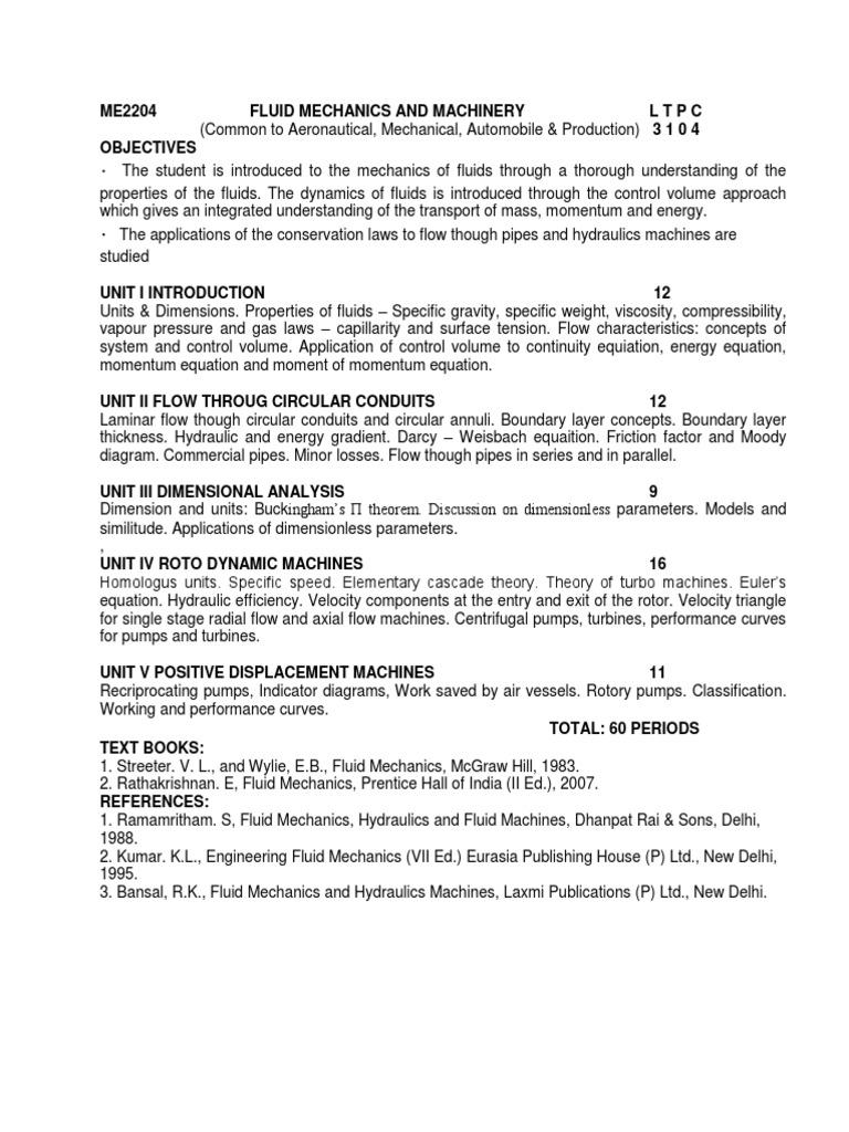 Me2204 Fluid Mechanics and Machinery Syllabus | Fluid Mechanics | Fluid  Dynamics