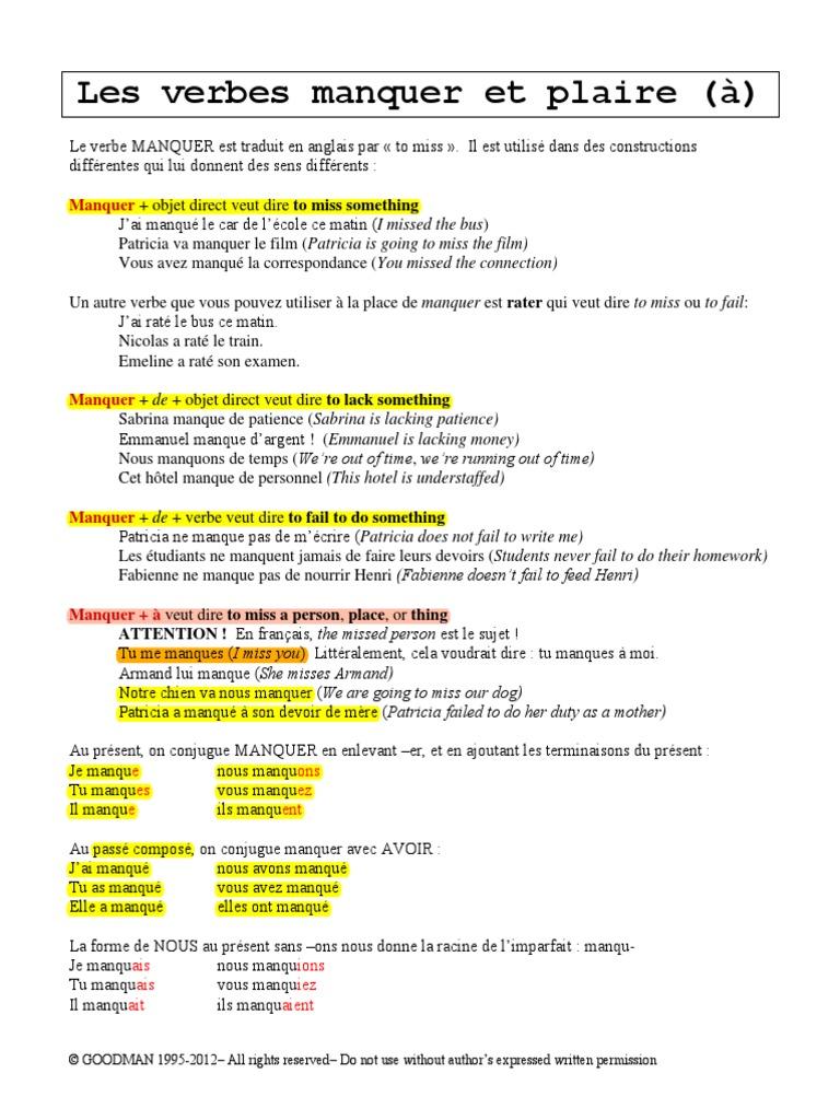 French 221 Les Verbes Manquer Et Plaire Lecon Regles Syntaxe