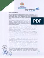 Resolución Ministerial 262 que aprueba los Modelos de DBC en el marco del Decreto Supremo N° 0181