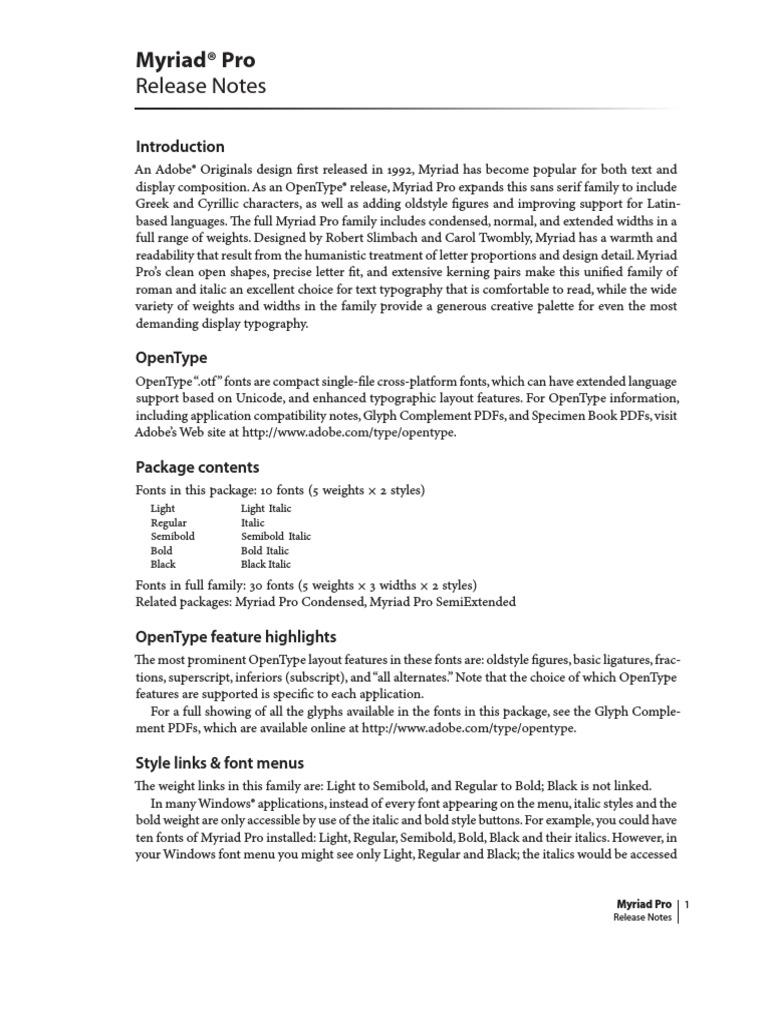 Myriad Pro ReadMe | Typefaces | Typography