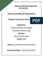 Especificaciones Del Programa Final Del Encriptador y Desencriptador