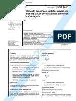 NBR 9820 Coleta de Amostras Indeformadas de Solos de Baixa Consistência Em Furos de Sondagem