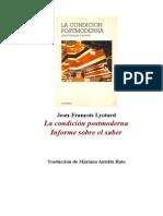 Lyotard La Condicion Postmoderna Wwwtxtantropologiawordpresscom