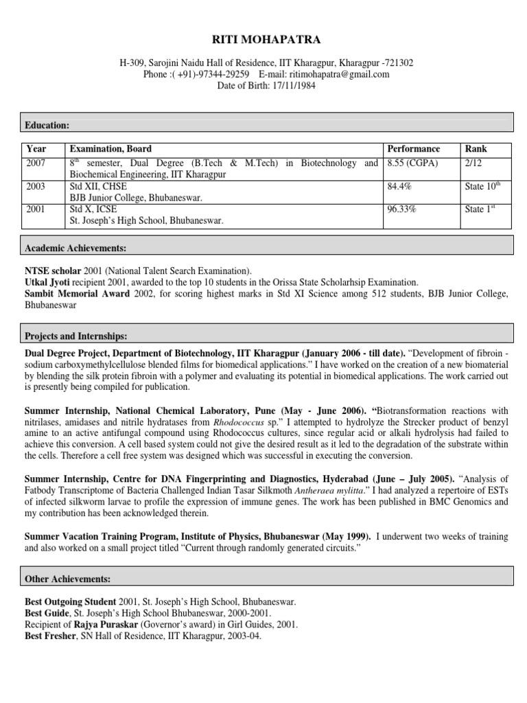 Stunning Resume Of Iit Students Photos - Resume Ideas - namanasa.com